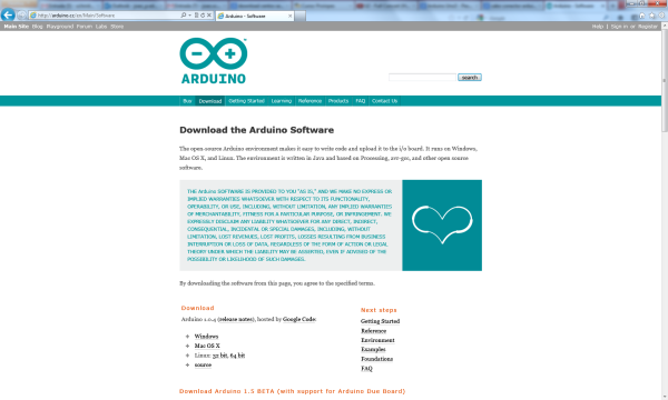 PaginaDownloadArduino
